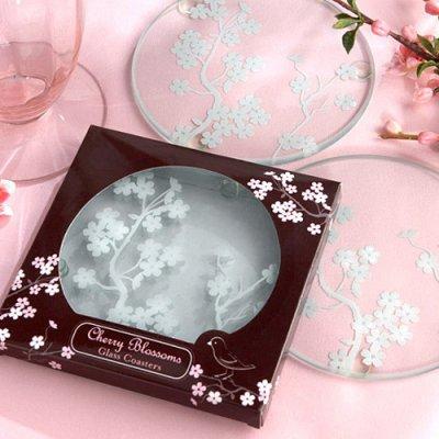 Cherry Blossom Glass Coaster Wedding Favors